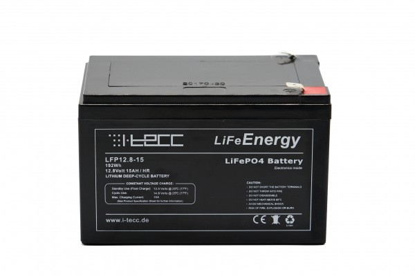LiFeEnergy LiFePO4 Akku 12V 15Ah mit BMS