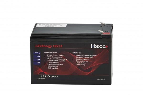 LiFeEnergy LiFePO4 Akku 12V 13Ah mit BMS